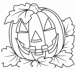 A Halloween pumpkin with attached leaves