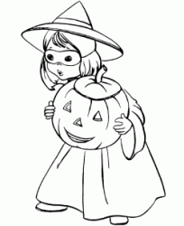 A little girl dressed as a witch with a pumpkin in her hand