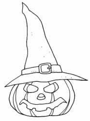 A pumpkin with a witch's hat