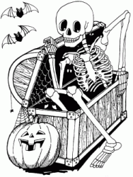 A skeleton comes out of a box