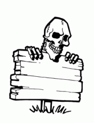 A skeleton leaning on a wooden sign