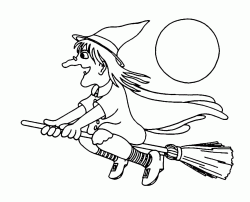 A witch flies happily in the moonlight