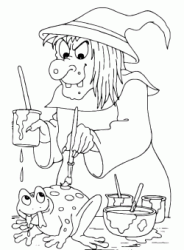 A witch is painting a frog