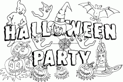 Banner for the Halloween party with ghost witches and spiderwebs