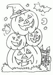 Four pumpkins on top of each other laughing