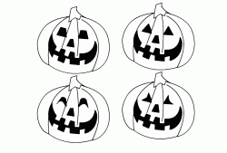 Four pumpkins with four different smiles