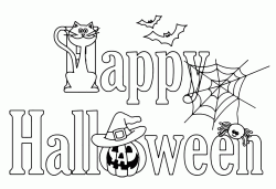 Halloween banner with pumpkin cat and spider webs