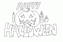 Happy Halloween banner with a pumpkin and candles