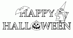 Happy Halloween banner with a witch and a bat