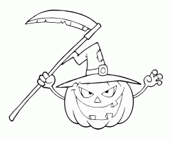 Pumpkin with scythe in his hand