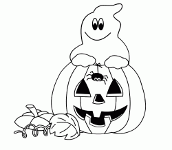 The ghost inside the pumpkin with the little spider