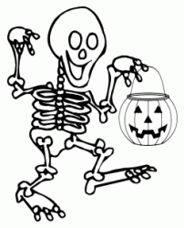 The skeleton walks with the pumpkin in his hand