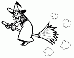 The witch flies on her broom