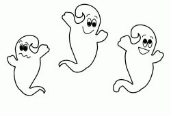 Three cute ghosts fly nearby