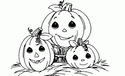 Three pumpkins with very sweet little face