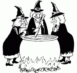 Three witches are preparing a magic potion