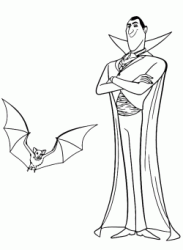 Count Dracula next to the bat in which he turns