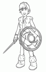 Hiccup with sword and shield