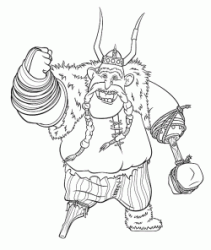 The Viking Gobber raises his fist