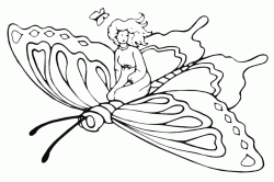 A giant butterfly carries a little girl