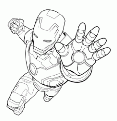 Iron Man ready to launch his ray from the palm of his hand