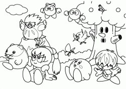 Kirby and his friends Tuff, Tiff, Tokkori and Whispy Woods