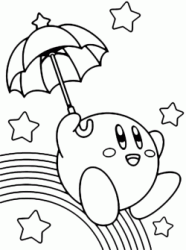 Kirby Parasol with his umbrella slip on the rainbow