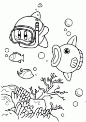 Kirby swimming with mask and snorkel
