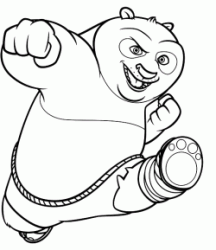 Po in a kung fu move