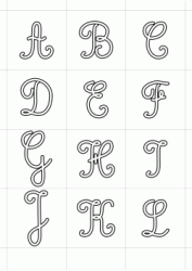 Italics uppercase letters from A to L