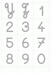 Italics uppercase letters Y - Z and numbers from 0 to 9