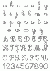 Letters and numbers, uppercase and lowercase cursive