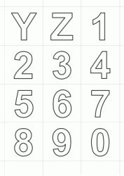 Letters in block letters Y - Z and numbers from 0 to 9
