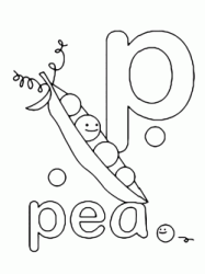 p for pea lowercase letter