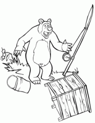 Bear alarmed launches the fishing rod and the fish bucket