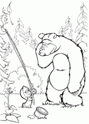 Bear is in despair because Masha has intrigued the line on a tree