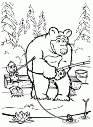Masha and the Bear are fishing with the rods