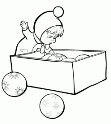 Masha pulls out of the box all the Christmas balls