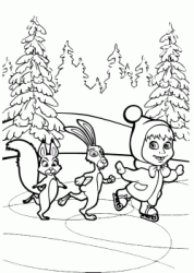 Masha skating on ice with rabbit and squirrel