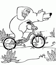 The Bear holds Masha while riding a bicycle