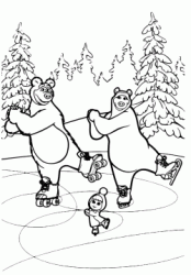 The Bear She Bear and Masha is dancing on ice with the skates