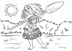 The Moana princess dances with an oar in her hand