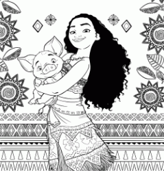 The Moana princess with Pua the pig Vietnamese