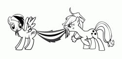 Applejack pulls the tail of Rainbow Dash