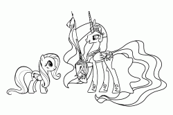 Fluttershy observes Princess Celestia who holds Philamena