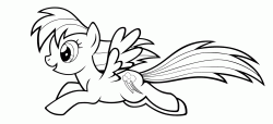 Rainbow Dash flies happy