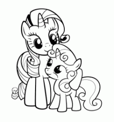 Rarity with a baby pony