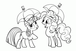 Twilight Sparkle and Pinkie Pie with an open umbrella