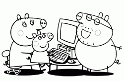 Daddy Pig explains to Mummy Pig and Peppa Pig to use his PC