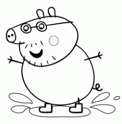 Daddy Pig jumping in puddles